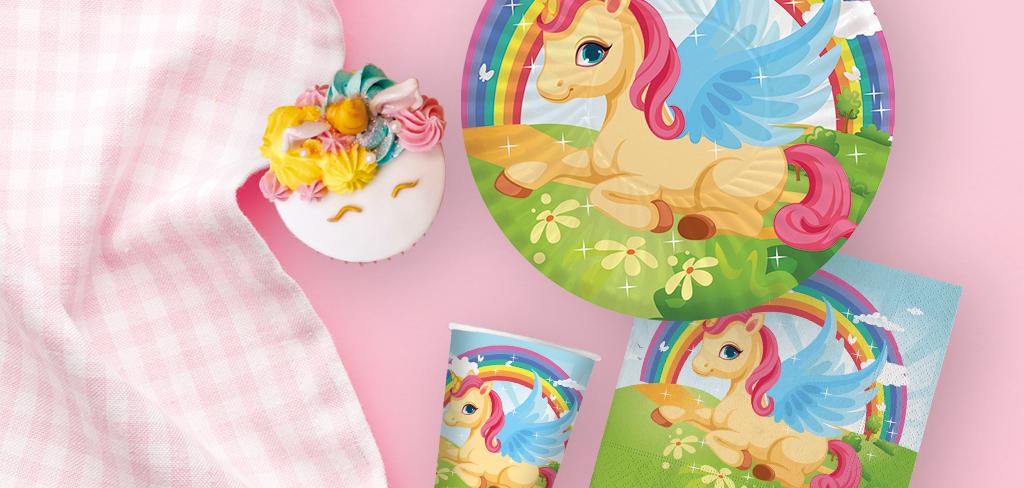piatto carta festa a tema unicorni